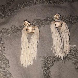 White drop bauble bar earrings